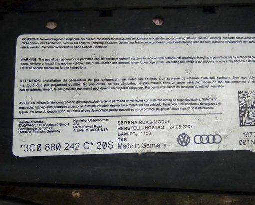 Подушка безопасности Volkswagen Passat B6 в сиденье правое 3C0880242C - купить в минске
