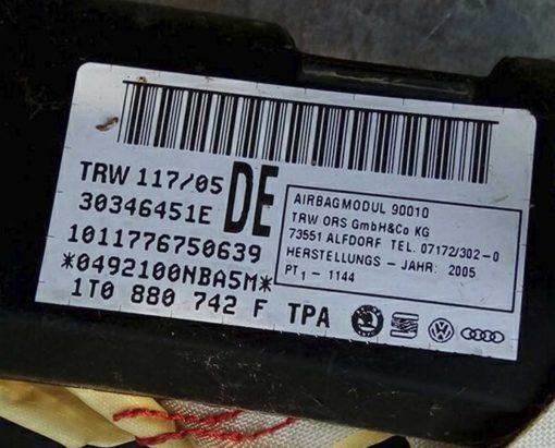 Подушка безопасности Volkswagen Touran боковая правая 1T0880742F